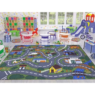 Ottomanson Jenny Babies Collection Multicolor Non-slip Rubber Children's City Streets Design Area Rug (7'10 x 10'6)