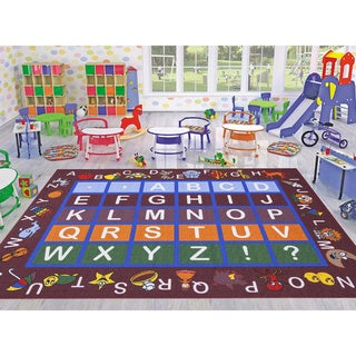Ottomanson Jenny Babies Collection Red Non-slip Rubber Children's Educational Design Area Rug (3' x 5')