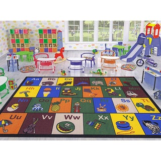 Ottomanson Jenny Collection Children's Multicolor Educational Alphabet Non-slip Area Rug (5' x 7')