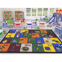 Ottomanson Jenny Children's Multicolor Educational Alphabet Non-slip Area Rug - 5' x 6'6