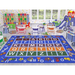 Ottomanson Jenny Babies Collection Red Non-slip Rubber Children's Educational Design Area Rug (5' x 7') - 5'3 x 6'3