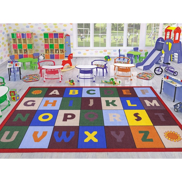 Ottomanson Jenny Babies Collection Multicolor Non-slip Rubber Children's Educational Design Area Rug (5' x 7')
