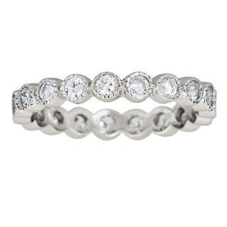 Decadence Sterling Silver Cubic Zirconia Bubble Micropave Eternity Ring (More options available)