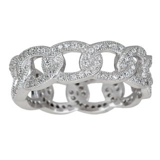 Decadence Sterling Silver Cubic Zirconia Link Eternity Ring