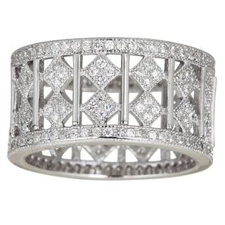 Decadence Sterling Silver Cubic Zirconia Micropave Eternity Band
