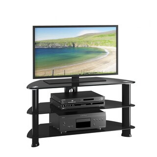 CorLiving Laguna Corner Satin Black TV Stand for up to 50-inch TVs