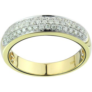 10k Yellow Gold 0.62ct TDW Diamond Unisex Band Ring (G-H, SI3)