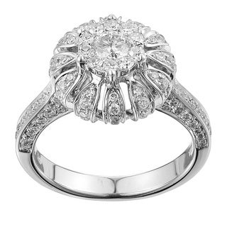 14k White Gold 1ct TDW Diamond Flower Style Engagement Ring