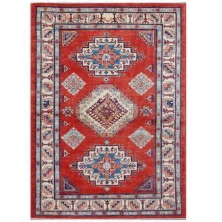 Herat Oriental Afghan Hand-knotted Tribal Super Kazak Red/ Ivory Wool Rug (4'7 x 6'5)
