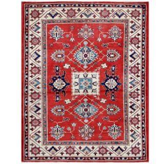 Herat Oriental Afghan Hand-knotted Tribal Super Kazak Red/ Ivory Wool Rug (4'11 x 6'5)