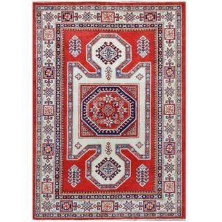 Herat Oriental Afghan Hand-knotted Tribal Super Kazak Wool Rug (4'8 x 6'9)