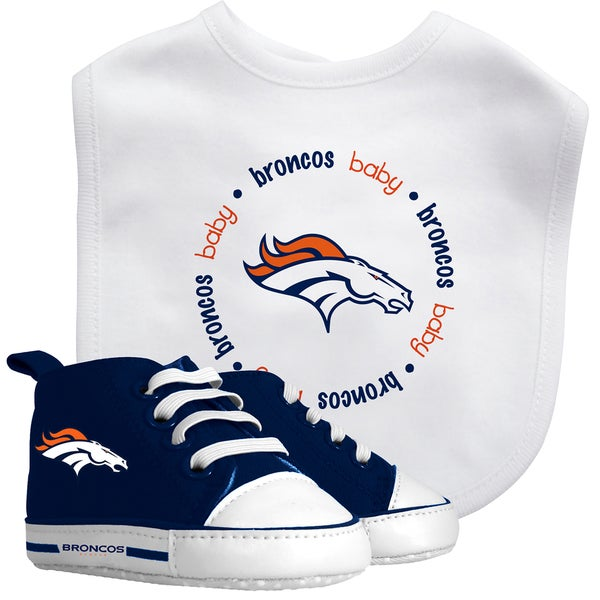Baby Fanatic Denver Broncos Bib and Pre-walker Shoes Gift Set