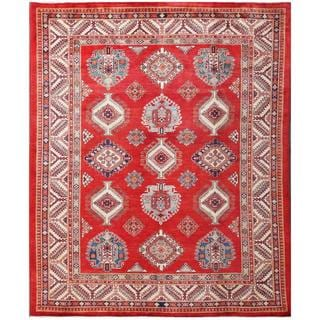Herat Oriental Afghan Hand-knotted Tribal Super Kazak Red/ Ivory Wool Rug (8'2 x 9'10)