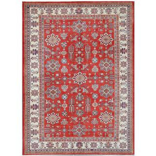 Herat Oriental Afghan Hand-knotted Tribal Super Kazak Red/ Ivory Wool Rug (10'3 x 14')