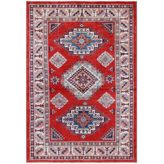 Herat Oriental Afghan Hand-knotted Tribal Super Kazak Red/ Ivory Wool Rug (4'5 x 6'7)