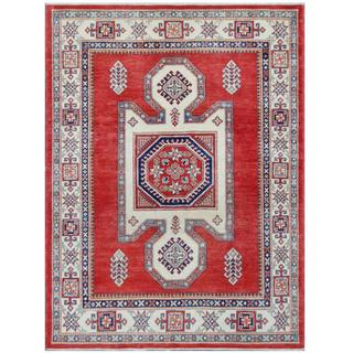 Herat Oriental Afghan Hand-knotted Tribal Super Kazak Red/ Ivory Wool Rug (4'8 x 6'4)