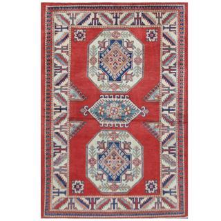 Herat Oriental Afghan Hand-knotted Tribal Super Kazak Red/ Ivory Wool Rug (4' x 6')