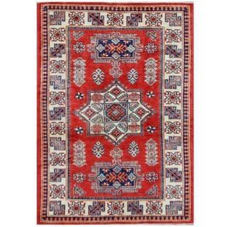 Herat Oriental Afghan Hand-knotted Tribal Super Kazak Wool Rug (4'1 x 5'11)