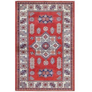 Herat Oriental Afghan Hand-knotted Tribal Super Kazak Wool Rug (4' x 6'3)