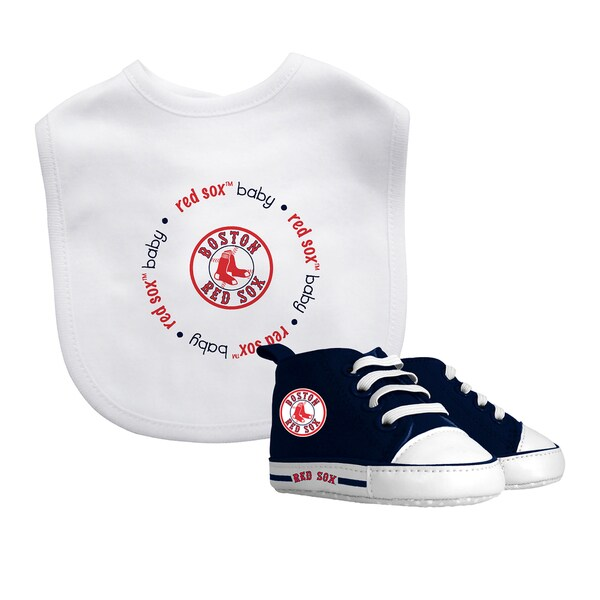 Baby Fanatic Boston Red Sox Bib and Pre-walker Shoes Gift Set