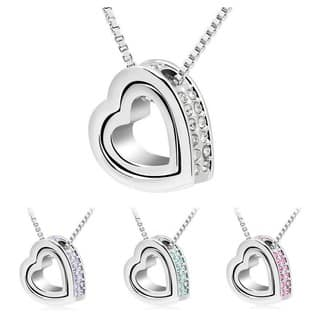 Princess Ice Platinum-plated Crystal Double Heart Pendant|https://ak1.ostkcdn.com/images/products/9959548/P17112434.jpg?impolicy=medium
