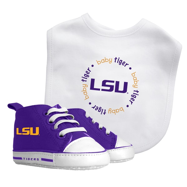 Baby Fanatic LSU Tigers Bib and Pre-walker Shoes Gift Set