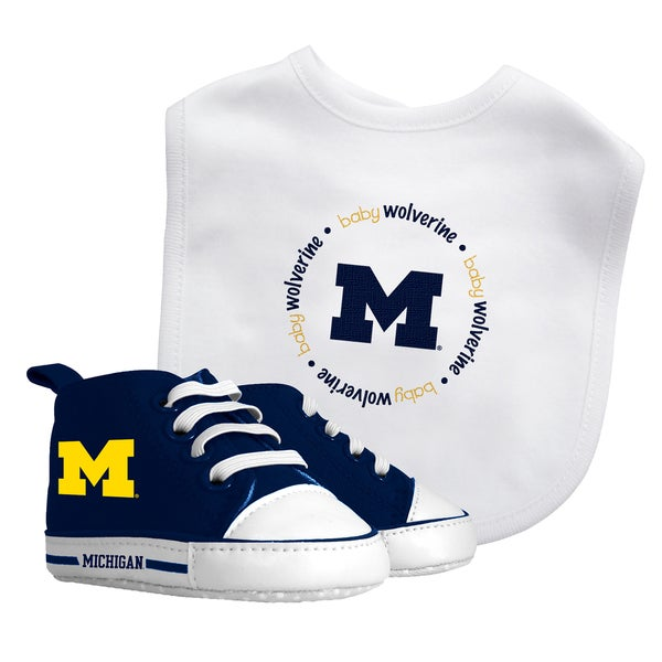 Baby Fanatic Michigan Wolverines Bib and Pre-walker Shoes Gift Set