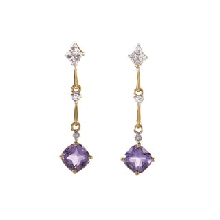 14k Yellow Gold Amethyst and Diamond Drop Earrings
