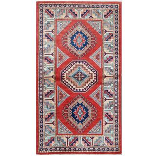Herat Oriental Afghan Hand-knotted Tribal Super Kazak Red/ Ivory Wool Rug (2'11 x 5'4)