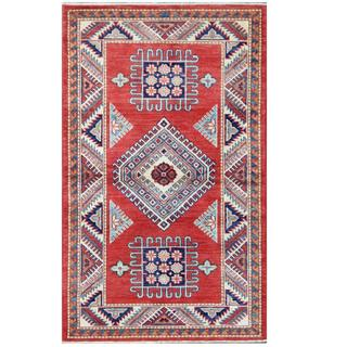 Herat Oriental Afghan Hand-knotted Tribal Super Kazak Red/ Ivory Wool Rug (2'11 x 4'11)