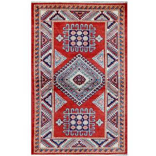 Herat Oriental Afghan Hand-knotted Tribal Super Kazak Red/ Ivory Wool Rug (3'1 x 4'11)