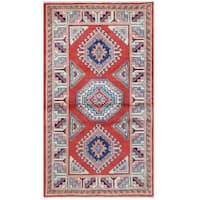 Herat Oriental Afghan Hand-knotted Tribal Super Kazak Wool Rug - 2'11 x 5'4