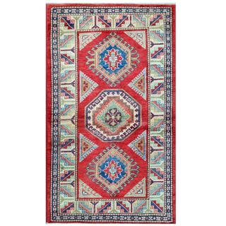 Herat Oriental Afghan Hand-knotted Tribal Super Kazak Red/ Ivory Wool Rug (3' x 5'3)