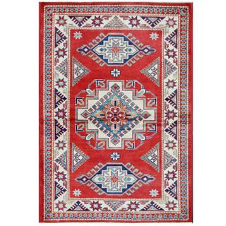 Herat Oriental Afghan Hand-knotted Tribal Super Kazak Red/ Ivory Wool Rug (3'3 x 4'8)