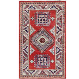 Herat Oriental Afghan Hand-knotted Tribal Super Kazak Red/ Ivory Wool Rug (3' x 5')