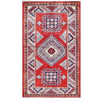 Herat Oriental Afghan Hand-knotted Tribal Super Kazak Red/ Ivory Wool Rug (2'11 x 4'9)