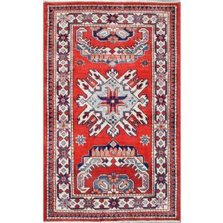 Herat Oriental Afghan Hand-knotted Tribal Super Kazak Red/ Ivory Wool Rug (2'7 x 4'1)