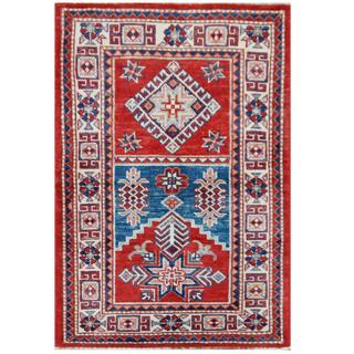 Herat Oriental Afghan Hand-knotted Tribal Super Kazak Red/ Ivory Wool Rug (2'7 x 3'9)