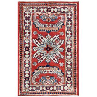 Herat Oriental Afghan Hand-knotted Tribal Super Kazak Red/ Ivory Wool Rug (2'7 x 4')