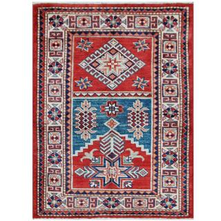 Herat Oriental Afghan Hand-knotted Tribal Super Kazak Red/ Ivory Wool Rug (2'8 x 3'6)