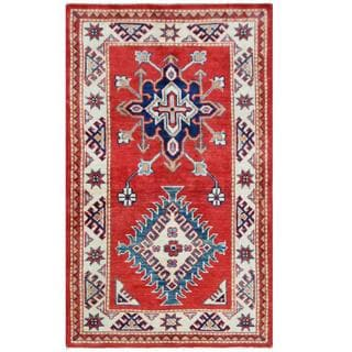 Herat Oriental Afghan Hand-knotted Tribal Super Kazak Red/ Ivory Wool Rug (2'7 x 4'4)
