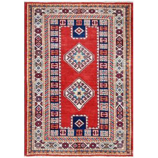 Herat Oriental Afghan Hand-knotted Tribal Super Kazak Red/ Ivory Wool Rug (2'8 x 3'10)