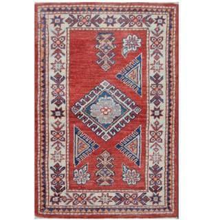 Herat Oriental Afghan Hand-knotted Tribal Super Kazak Red/ Ivory Wool Rug (1'11 x 2'11)