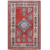 Herat Oriental Afghan Hand-knotted Tribal Super Kazak Wool Rug (1'11 x 2'11) - 1'11 x 2'11