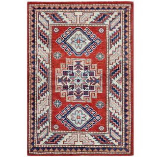 Herat Oriental Afghan Hand-knotted Tribal Super Kazak Red/ Ivory Wool Rug (2'1 x 3')