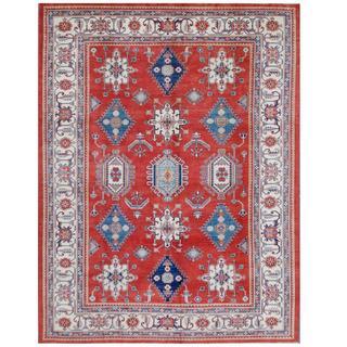 Herat Oriental Afghan Hand-knotted Tribal Super Kazak Red/ Ivory Wool Rug (9'3 x 12'2)