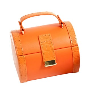 Bey Berk 'Emma' Orange Leatherette Jewelry Travel Case