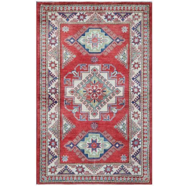 Herat Oriental Afghan Hand-knotted Tribal Super Kazak Wool Rug (3'3 x 5'1) - 3'3 x 5'1