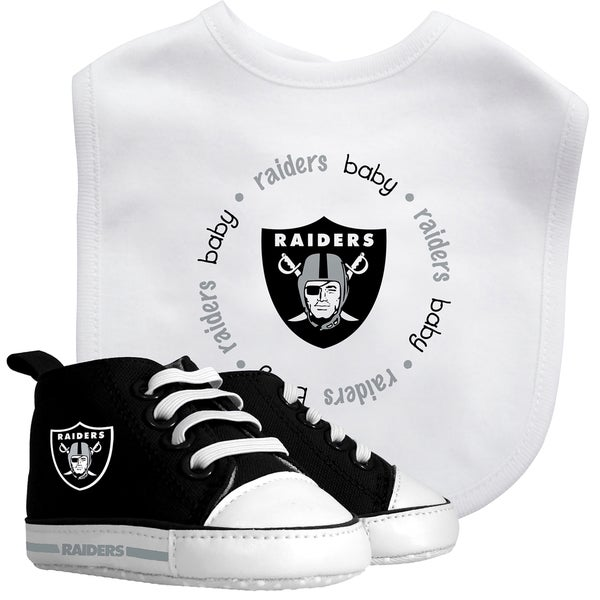 Baby Fanatic Oakland Raiders Bib with Pre-walker Shoes Gift Set