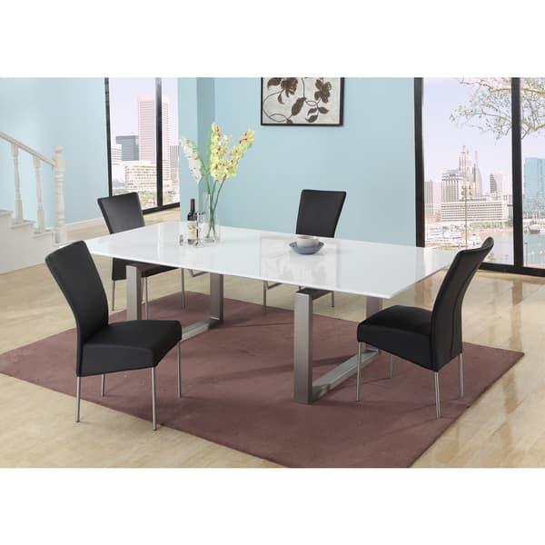 Wondrous Somette Elisa Gloss White Extendable Dining Table Short Links Chair Design For Home Short Linksinfo